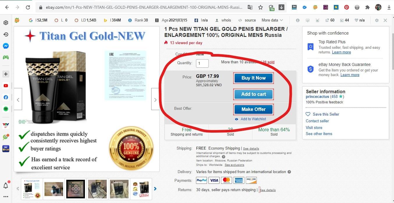 Giá bán gel titan trên ebay.com