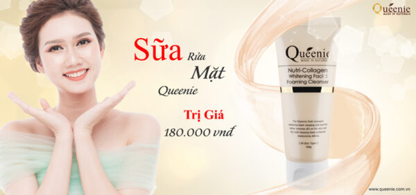 Sữa rửa mặt trắng da Queenie Nutri Collagen