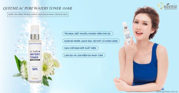 Nước hoa hồng cho da nhạy cảm và da mụn Queenie AC Pure 170ml