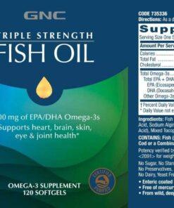 thành phần dầu cá GNC Triple Strength Fish Oil Mini softgels 120 viên
