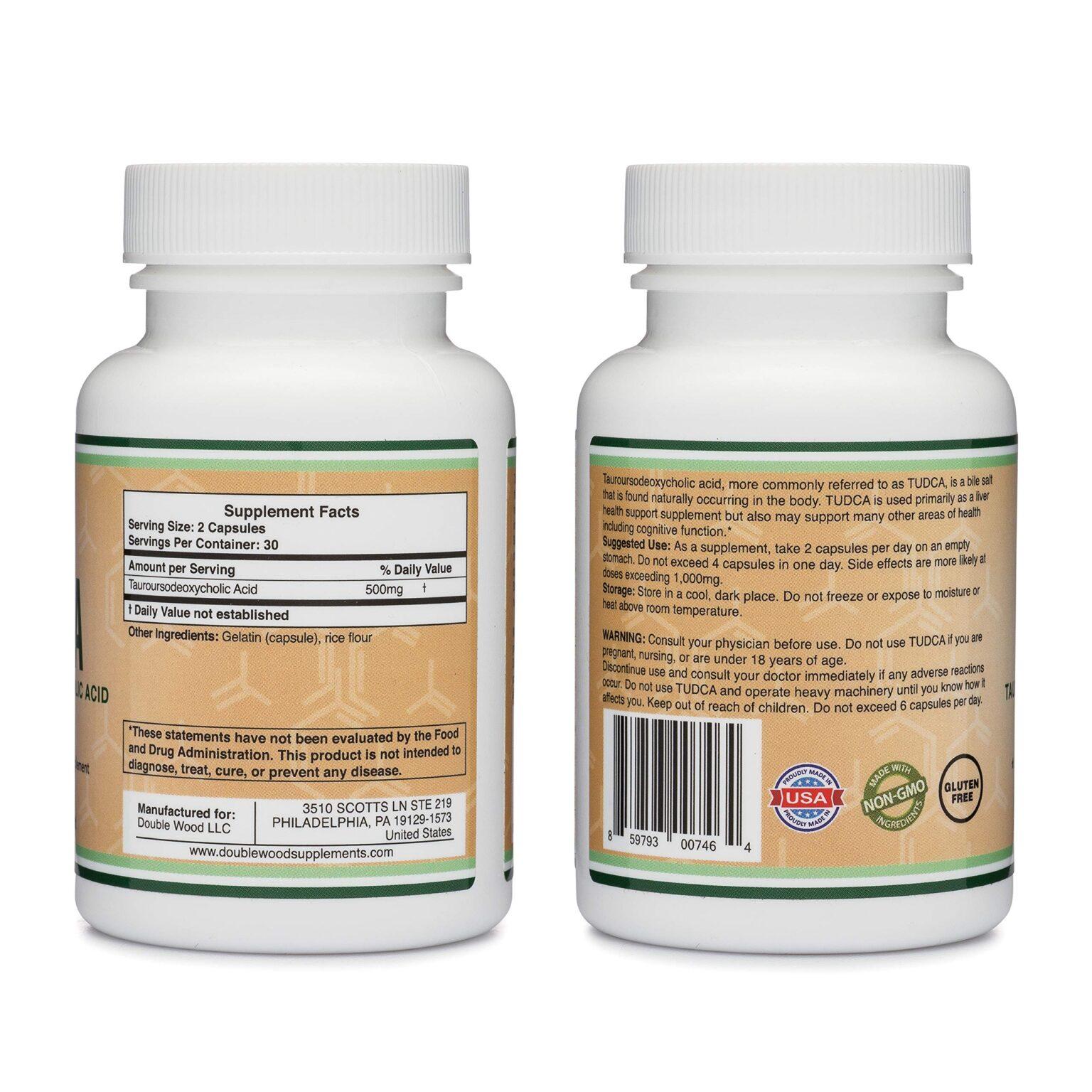Viên uống Double Wood Supplements TUDCA - Tauroursodeoxycholic Acid 500mg