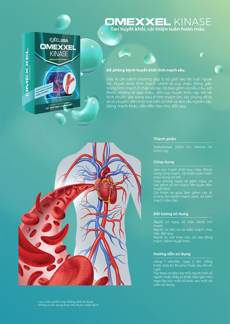 Viên uống tan huyết khối, cải thiện tuần hoàn máu Omexxel Kinase