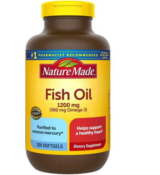 dầu cá Nature Made Fish Oil 1200mg Omega 3 200 viên của Mỹ