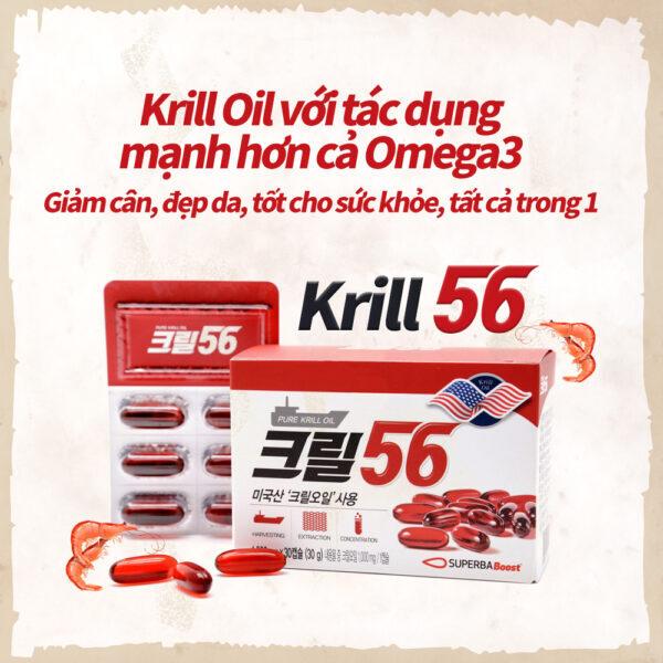 Dầu nhuyễn thể Krill56 1000mg Pulses - Red Omega 3