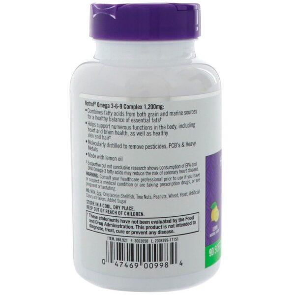 Omega 3-6-9 Complex 1200mg Natrol - bảo vệ tim mạch, tăng cường thị lực, cải thiện trí não