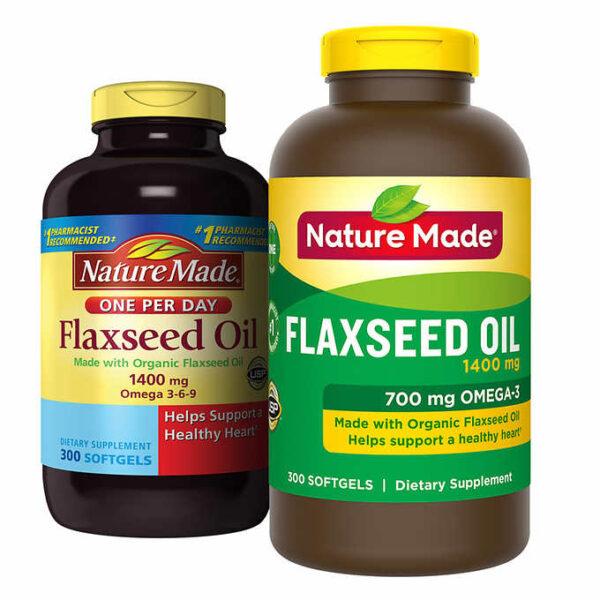 Dầu hạt lanh hữu cơ Flaxseed Oil 1400mg Nature Made Mỹ 300 viên bổ sung Omega 3-6-9