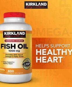 Viên dầu cá Fish Oil 1000mg Kirkland Signature Mỹ bổ sung Omega-3, DHA và EPA
