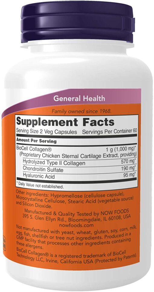 Viên uống BioCell Collagen® Hydrolyzed Type II Now 120 viên bổ khớp, đẹp da