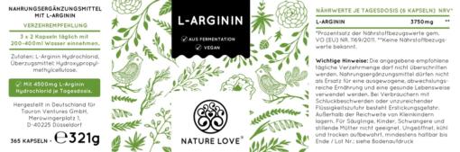 Viên uống L-Arginine HCL 4500mg Nature Love 365 viên của Đức cải thiện sức khỏe tim mạch, tăng cường sinh lý nam