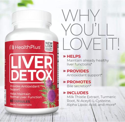 Viên uống Liver Detox HealthPlus 60 viên- Tăng cường chức năng gan, thúc đẩy bài tiết mật