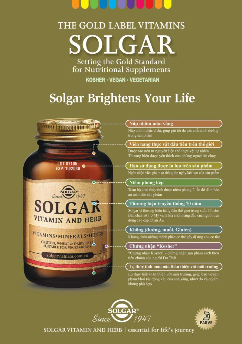 Viên uống điều hòa huyết áp Vegetarian CoQ-10 60 mg Solgar giảm nguy cơ tai biến, giảm cholesterol máu