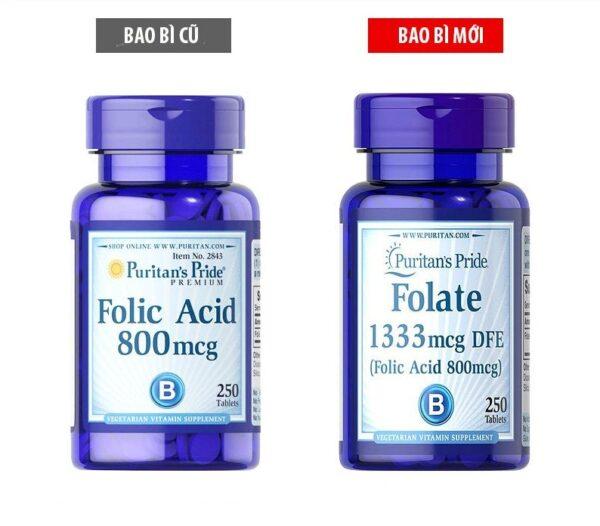 Viên uống Folate 1333 mcg DFE (Folic Acid 800mcg) Puritan's Pride Mỹ 250 viên ngăn ngừa thiếu máu